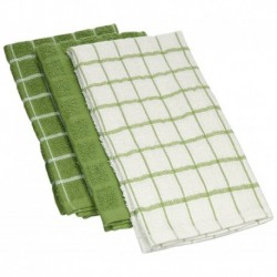 White/Green Combination  Kitchen Towels 12x12