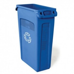 RUBBERMAID SLIM JIM RECYCLING CONTAINER RECTANGULAR PLASTIC 23 GAL BLUE