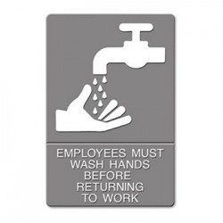 ADA Sign EMPLOYEES MUST WASH HANDS... Tactile Symbol Braille 6 x 9 Gray