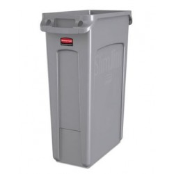 Rubbermaid Commercial Slim Jim Receptacle w/Venting Channels Rectangular Plastic 23gal Gray