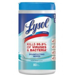 LYSOL Brand Disinfecting Wipes Ocean Fresh Scent 7 x 8 White