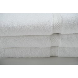 Oxford Gold Dobby BATH TOWELS 24 X 50 14.00lbs 86% Cotton Ringspun 14% Polyester with 100% cotton Loops Cam Border WHITE