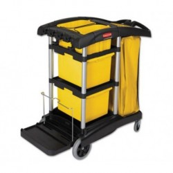 HYGEN M-fiber Healthcare Cleaning Cart 22w x 48-1 4d x 44h Black Yellow Silver