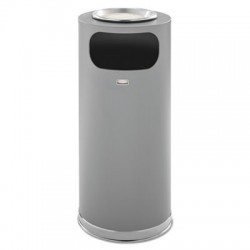 Rubbermaid Commercial Metallic Series Ash & Trash Waste Receptacle 15 gal Grey with Chrome Trim