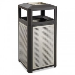 Safco Ashtray-Top Evos Series Steel Waste Container 15gal Black