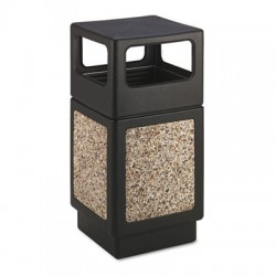 Safco Canmeleon Side-Open Receptacle Square Aggregate/Polyethylene 38gal Black