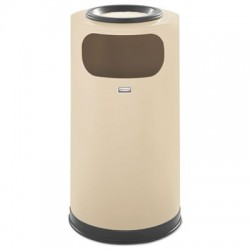Rubbermaid Commercial European & Metallic Series Sand Urn & Waste Receptacle Round 12 gallon Almond