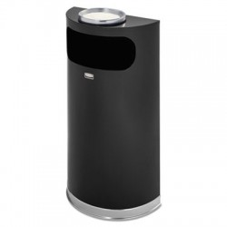 Rubbermaid Commercial Half-Round Ash & Trash Waste Receptacle 9 gal Black with Chrome Trim Steel