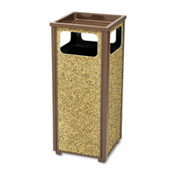 Aspen Outdoor Sand Urn/Litter Receptacle Square Steel 12 gal Brown