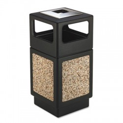 Safco Canmeleon Ash & Trash Receptacle Square Aggregate & Polyethylene 38gal Black