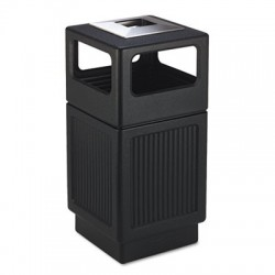 Safco Canmeleon Ash & Trash Receptacle Square Polyethylene 38gal Textured Black