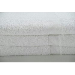 Oxford Gold CAM BATH TOWELS 24 X 54 12.50lbs 86% Cotton Ringspun 14% Polyester with 100% cotton Loops Cam Border WHITE