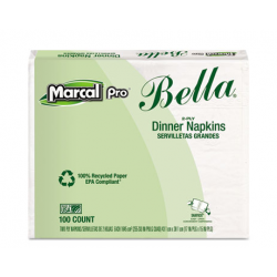 Marcal PRO 100% Premium Recycled Bella Dinner Napkins 15 x 17 White