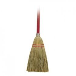 LobbyToy Broom Corn Fiber Bristles 39 Wood Handle RedYellow