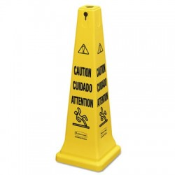 Rubbermaid Commercial Multilingual Safety Cone CAUTION 12 1|4w x 12 1|4d x 36h Yellow