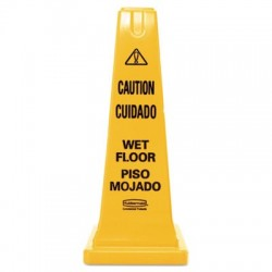 Rubbermaid Commercial Four-Sided Caution Wet Floor Safety Cone 10 1|2w x 10 1|2d x 25 5|8h Yellow