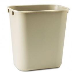 Deskside Plastic Wastebasket Rectangular Beige