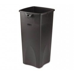 UNTOUCHABLE WASTE CONTAINER SQUARE PLASTIC 23 GAL BLACK