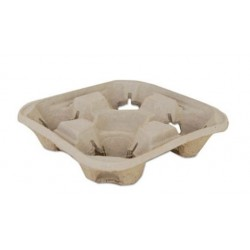 SCT Molded Fiber Drink Carriers 8-32oz Cups 4-Cup Tray 9.25 x 9.25x 2.25