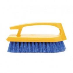 Rubbermaid Commercial Iron Shaped Long Handle Scrub Brush 6 Brush Yellow Plastic Handle Blue Bristles