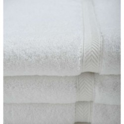 Oxford Gold Dobby BATH TOWELS 27 X 54 WHITE 86% Cotton Ringspun 14% Polyester with 100% cotton Loops Dobby Border