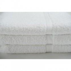 Oxford Bellezza BATH TOWELS 27 X 54 WHITE 100% Cotton Ringspun Dobby Border & Dobby Hemmed