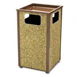Aspen Series Sand Urn Litter Receptacle Square Steel 24 gal Brown