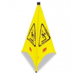 Three-Sided Caution Wet Floor Safety Cone 21w x 21d x 30h Yellow