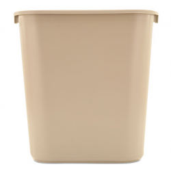 RUBBERMAID DESKSIDE PLASTIC WASTEBASKET RECTANGULAR 7 GAL BEIGE