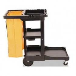 Rubbermaid Commercial Multi-Shelf Cleaning Cart Three-ShelfBlack