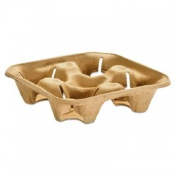Chinet StrongHolder Molded Fiber Cup Tray 8-32oz Four Cups