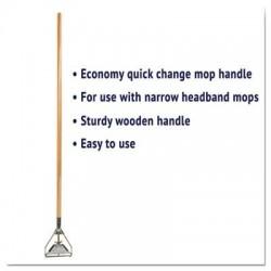 Boardwalk Quick Change Metal Head Mop Handle for No. 20 & Up Heads 54in Wood Handl