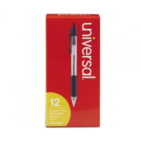 Universal Economy Retractable Ballpoint Pen Black Ink Clear 1mm