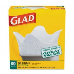 Glad Tall Kitchen Quick-Tie Bags  .69mil White