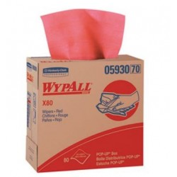 WypAll X80 Cloths with HYDROKNIT 9.1 x 16.8 Red Pop-Up Box 80 sheets per Box
