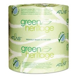 ATLAS PAPER MILLS- Green Heritage Toilet Tissue 4.3 x 3.5 Sheets 2-Ply 500 per Roll White