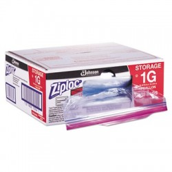 Ziploc Double Zipper Bags Plastic 1gal 1.75mil Clear w/Write-On Panel