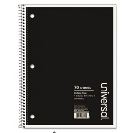 Universal 1 Sub. Wirebound Notebook College Rule Black Cover