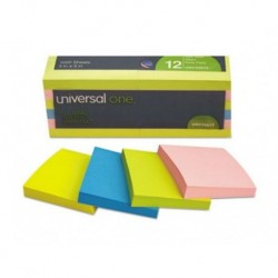 Universal Self-Stick Notes 3 x 3 Assorted Neon Colors 100-Sheet