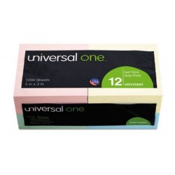 Universal Standard Self-Stick Notes 3 x 3 Assorted Pastel Colors 100-Sheet