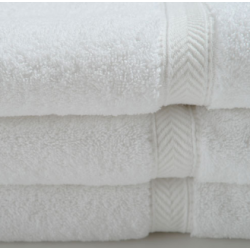 Oxford Gold BATH Towels WHITE 86% Cotton Ringspun/ 14% Polyester w/ 100% Cotton Loops Cam Border 5.50LBS