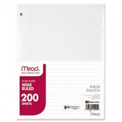 Mead Filler Paper 15lb Wide Rule 3 Hole 10 1/2 x 8