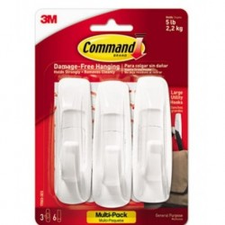Command General Purpose Hooks Value Pack Large 5lb Cap White 3 Hooks & 6 Strips