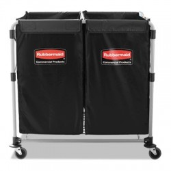 Rubbermaid Commercial Collapsible X-Cart Steel 2 to 4 Bushel Cart 24 1/10w x 35 7/10d Black/Silver