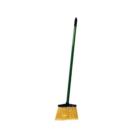 Large Angle Brooms  48x1-7/8 Flagged Yellow Nylon Bristles Plastic Cap Green Handle