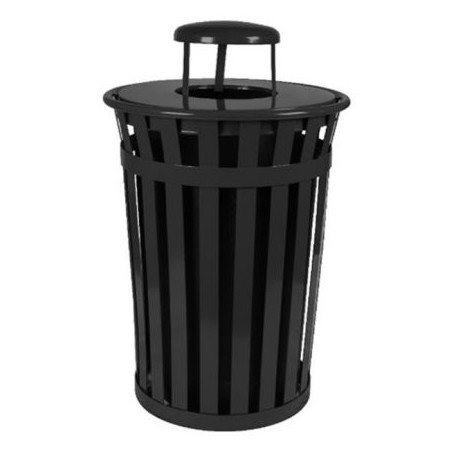 Oakley Slatted Metal Receptacle 50 Gallons BLACK with dome top lid & plastic liner 27.5 X 36 high