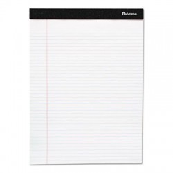 Universal Premium Ruled Writing Pad w/Hvy-Duty Back White 5 x 8 Wide 50 Sheets