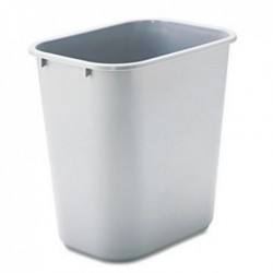 Rubbermaid Commercial Deskside Plastic Wastebasket Rectangular 7 gal Gray