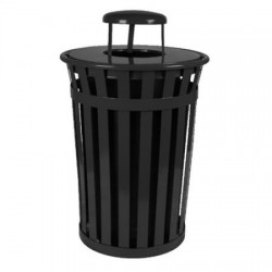 Oakley Collection of slatted metal waste receptacle w/ plastic liner for outdoor use 28 X 36 BLACK  36GAL W/DOME TOP LID