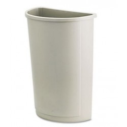 Rubbermaid Commercial Untouchable Waste Container Half-Round Plastic 21gal Beige